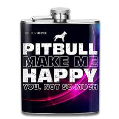 Happy Pitbull Flagon Wine Pot Stoup Stainless Steel Flask And Funnel Liquor Alcohol Rum Container Pocket For Adults >>> Read more reviews of the product by visiting the link on the image. (This is an affiliate link) #LiquorWineFlasks