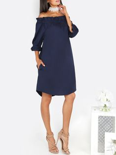 Shop Off The Shoulder Ruffle Dress NAVY online. SheIn offers Off The Shoulder Ruffle Dress NAVY & more to fit your fashionable needs.