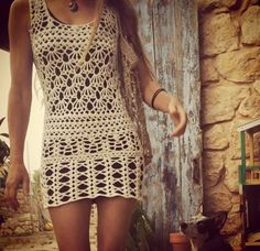 2f44b627f8 Boho crochet mini dress- I could just continue the bottom pattern to  lengthen. Tatiana Scalabrini