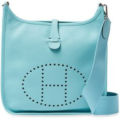 Hermès Women's Vintage Blue Epsom Evelyne III PM - Blue ($3,250) ❤ liked on Polyvore featuring bags, handbags, shoulder bags, blue, vintage leather shoulder bag, vintage leather handbags, blue purse, hermes purse and blue leather handbags