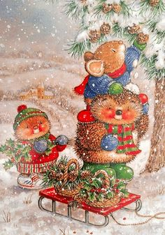 New Gordon Fraser Christmas New Year double card hedgehog mouse tree cone Latvia Woodland Christmas, Magical Christmas, Christmas Love, Winter Christmas, Xmas, Christmas Scenes, Christmas Animals, Christmas Pictures, Illustration Noel
