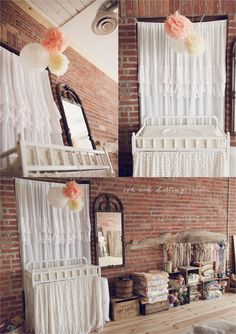 jenny lind change table station, with plenty of yummy baby products (like arbonne & honest co.) below and cute DIY pom poms for some fun