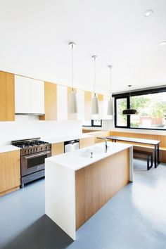 Living Room - Minimalist Kitchen Design In Classic House With White Kitchen Island And Brown White Cabinets Made From Wooden Material: Bewit...