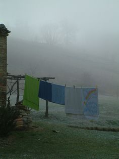 Catharina Sonn Kaaren frosted laundry it will take a while until the sun softens up the stiff laundry. Laundry Lines, Persona, Vintage Stoves, Clothes Dryer, Doing Laundry, Country Life, Fine Art Photography, Hanging Out, Mists