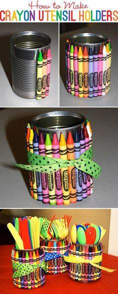 lata coberta com giz de cera (ou lápis de cor)