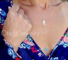 Hamsa-hand-necklace-y-necklace-sterling by #otisbjewelry on #etsy Www.briguysgirls.etsy.com #gifts #sterlingsilver #hamsahand #goodluck #protection #zen #yoga @hailsmom04