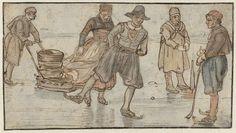 Hendrick Avercamp, Skaters and kolf-players on the ice. c. 1615-c. 1634. Aquarel·la sobre paper, 9, 2 x 16, 9 cm. Amsterdam: Rijksmuseum