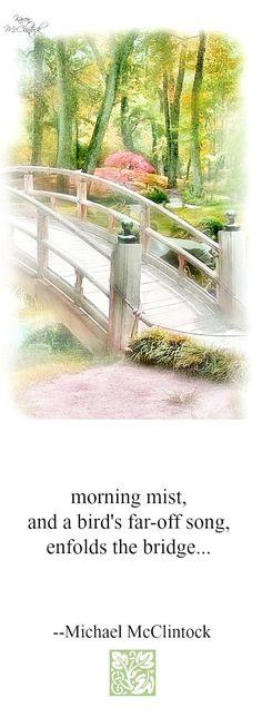 Haiku poem: morning mist -- by Michael McClintock.