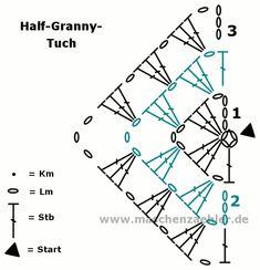 Häkelanleitung Half-Granny-Tuch – Häkelschrift - she Baby Knitting Patterns, Crochet Poncho Patterns, Crochet Diagram, Crochet Chart, Crochet Stitches, Crochet Instructions, Poncho Au Crochet, Crochet Granny, Crochet Triangle