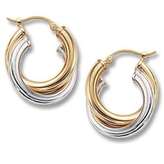 14k Yellow Gold Polished Triple Hoops with Rope Earring Jackets with CZ Studs YE