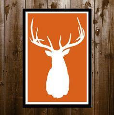 Elk Silhouette, Hunting Wall Decor, Printable Elk Head Silhouette, Printable Poster Size Wall Art, Hunting, Elk, Deer, Elk Antlers Print