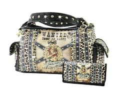 WESTERN Black COWGIRL Wanted ALIVE Handbag Wallet Set Rhinestone Star Leopard #ShoulderBag