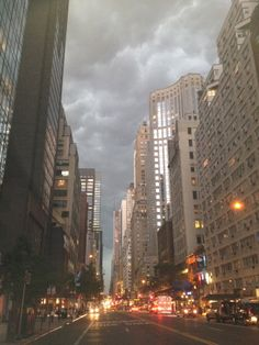 Before the storm, looking west on East 57 Street