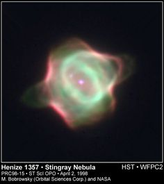The Stingray Nebula. Stingray's emerging bubbles and rings of shocked and ionized gas. The gas is energized by the hot central star as it nears the end of its life, evolving toward a final white dwarf phase. The image also shows a companion star (at about 10 o'clock) within the nebula. Astronomers suspect that such companions account for the complex shapes and rings of this and many other planetary nebulae. This cosmic infant is about 130 times the size of our own solar system and growing.
