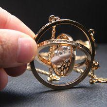 Oro Chapado En Oro Reloj de Arena Collar Harry Potter Hermione Granger Rotating Giratiempos Joyería Accesorios(China (Mainland))