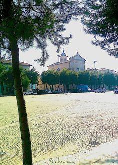 """FOTOGRAFIA  N.156 - """"PIAZZA XX SETT. e CHIESA S.PIETRO/PAOLO - serie acquarello"""" (Civitanova M.) (e.l. 2013)"""
