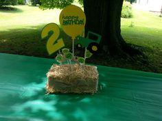 Centerpieces for Alex's John Deere birthday party. Mcdonalds Birthday Party, 4th Birthday Parties, Birthday Ideas, Tractor Birthday, Farm Birthday, John Deere Party, Noah, Birthday Party Centerpieces, Farm Party