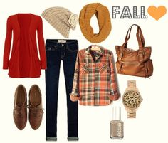 "Fall Outfit: ""Fall Colors""...Red-Orange Cardigan + Orange & Brown Plaid/Flannel Shirt + Mustard Yellow Scarf + Beige/Taupe Beanie/Hat/Cap + Dark Wash Skinnies/skinny jeans + Brown/Cognac Bag + Rose Gold Watch + Greige/Taupe/Grey Nail Polish"