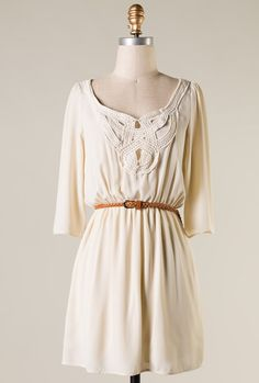 Sincerely Sweet Dress - Inner Peace Crochet Detailed Sleeve Dress in Cream Belted Shirt Dress, Babydoll Dress, Collar Dress, Cute Dresses, Dresses For Work, Dresses With Sleeves, Cute Fashion, Fashion Pics, Spring Fashion