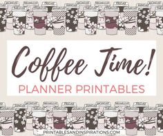 Here's some free planner printables from Printables And Inspirations! Use these coffee-themed printables as a binder cover/divider and as planner stickers. Print out thes… Free Planner, Happy Planner, Printable Planner, Planner Stickers, Free Printables, Food Stickers, Planner Ideas, Planner Dividers, Coffee Theme