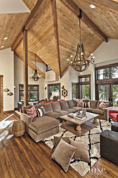 White Mountain Great Room with Vaulted Ceiling - Luxe Interiors + Design Living Room Furniture Layout, Living Room Designs, My Living Room, Home And Living, Log Home Decorating, Decorating Ideas, Decor Ideas, Family Room Design, Living Room Lighting