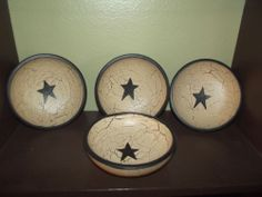 Primitive Crackle Painted Lot of Wooden Bowls~ Black Stars Country Decor