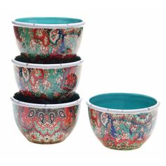Tracy Porter for Poetic Wanderlust 'Folklore Holiday' Earthenware 5.75-inch Paisley Ice Cream Bowls (Pack of 4)