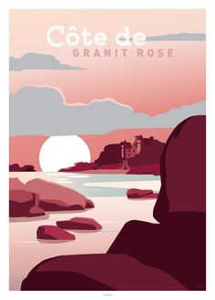 It was after a hike in this magnificent region of Brittany that we decided to create this illustration. Several formats available, beautiful prints on paper. Creation and edition in Bordeaux, made in France. Poster Design, Graphic Design Posters, Travel Illustration, Illustration Girl, Poster Graphics, Tourism Poster, Costa, Dream City, Vintage Travel Posters
