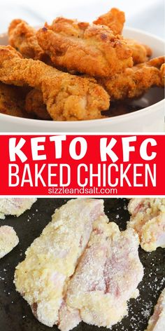 """Low Carb KFC Chicken Copycat - Low Carb Chicken Recipes - Pin this Low Carb KFC Copycat recipe for the next time you need a """"treat meal"""" – a delicious baked or fried chicken recipe just like the Colonel makes Kfc Chicken Recipe Copycat, Low Carb Chicken Recipes, Copycat Recipes, Low Carb Recipes, Diet Recipes, Dessert Recipes, Recipes Dinner, Low Carb Fried Chicken, Gluten Free Fried Chicken"""