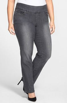 Jag Jeans 'Peri' Pull-On Straight Leg Jeans (Thunder Grey) (Plus Size) available at #Nordstrom