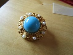 """New Listing Started vintage goldtone round brooch with tiny faux pearls 1.5""""across good condition £2.45"""