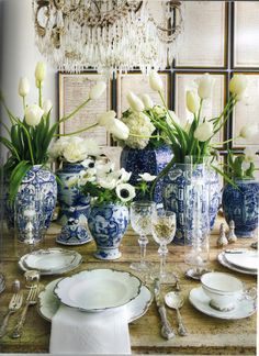 Jan- blue and white grouping mixed with heirloom silver and fresh floral/greens