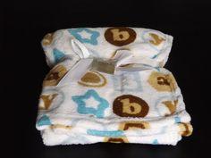 Baby Fleece Blanket White Alphabet Soft Pram Cot Crib 76x76 100% Polyester Blue