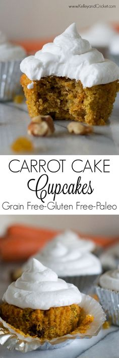 These moist and delicate Carrot Cake Cupcakes, topped with light and fluffy cream cheese whip, have a few surprising ingredients that make them extra special and extra irresistible! They make the perf Paleo Dessert, Healthy Dessert Recipes, Cupcake Recipes, Delicious Desserts, Paleo Meals, Carrot Cake Cupcakes, Cupcake Cakes, Cup Cakes, Gluten Free Sweets