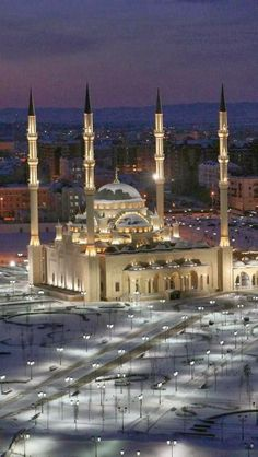 Akhmad Kadyrov Masjid, Grozny , the capital of Chechnya, Russia Mosque Architecture, Religious Architecture, Beautiful Architecture, Beautiful Buildings, Art And Architecture, Places Around The World, Around The Worlds, Beautiful World, Beautiful Places