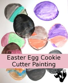 Easter Egg Cookie Cutter Painting - Easy watercolor painting and multiple ages can do together - 3Dinosaurs.com