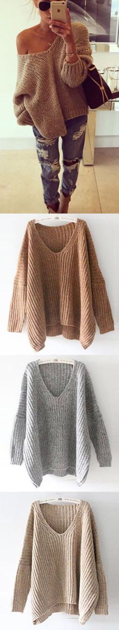 Only $29.99! Fall Fashion Style in www.chicnico.com :) Rust Open Shoulder Oversized Knitted Sweater Contemporary Knitwear Design