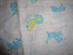 Vintage 1950's Cotton Novelty Juvenile Baby Blue Yellow Animals ABC Fabric