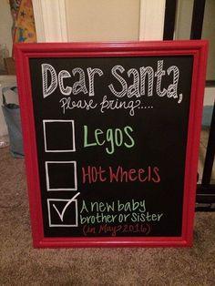 Christmas chalkboard pregnancy announcement by CharmingChalk