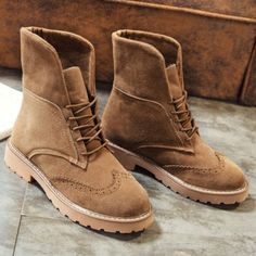 Retro Fold Down Wingtip Short Boots #CLICK! #clothing, #shoes, #jewelry, #women, #men, #hats