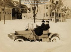 1907 Knox Runabout stuck in the snow on the Eastern Promenade. Reproductions available online, VintageMaineImages.com