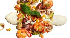 White Tomato Foam on Seafood Salad