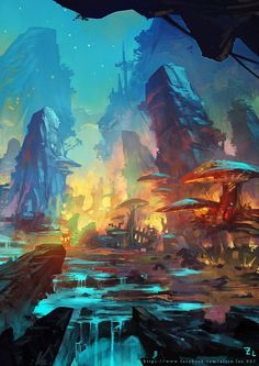 51 Enigmatic Forest Concept Art That Will Amaze You - fantasy - Kunst Fantasy Concept Art, Fantasy Artwork, Digital Art Fantasy, Concept Art World, Game Concept Art, Fantasy Images, Landscape Concept, Landscape Art, Watercolor Landscape