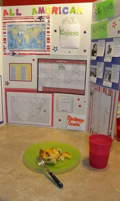 """breakfast boards""; place a board of information at the table for kids to read while they eat. Interesting."