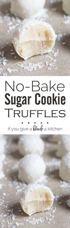 These no-bake sugar cookie truffles are little balls of cookie goodness dipped in white chocolate and sprinkled like snowballs! Candy Recipes, Baking Recipes, Holiday Recipes, Cookie Recipes, Dessert Recipes, Brownie Recipes, Salad Recipes, Just Desserts, Delicious Desserts