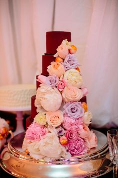 Chocolate Wedding Cake With Flowers   photography by http://carolineplusben.com