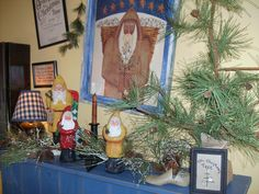 My Mom's House Vintage Primitive Christmas 2012 The House That Built Me....Shiny Brites, Ornaments, Trees, Stockings, Union Suits, Evergreens, Pine, Old, Antique, Home Quilts Santa, Santas