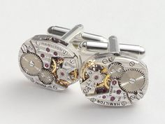 Steampunk cufflinks vintage watch movements gears Hamilton pinstripe wedding Groom Gift silver cuff links men jewelry Steampunk jewelry 2003. $79.00, via Etsy.
