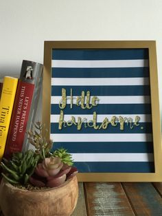 Hello Handsome Print Glitter Text Wall Art by MagpiePrintCo
