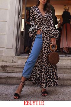 8e50aa98b91f Up to 80% Off. First Order 5% Off Code:EB5F Fashion Long Sleeves Leopard  Print T-Shirt Maxi Dress #maxidress #maxidressesgorgeous #maxidressessummer  ...